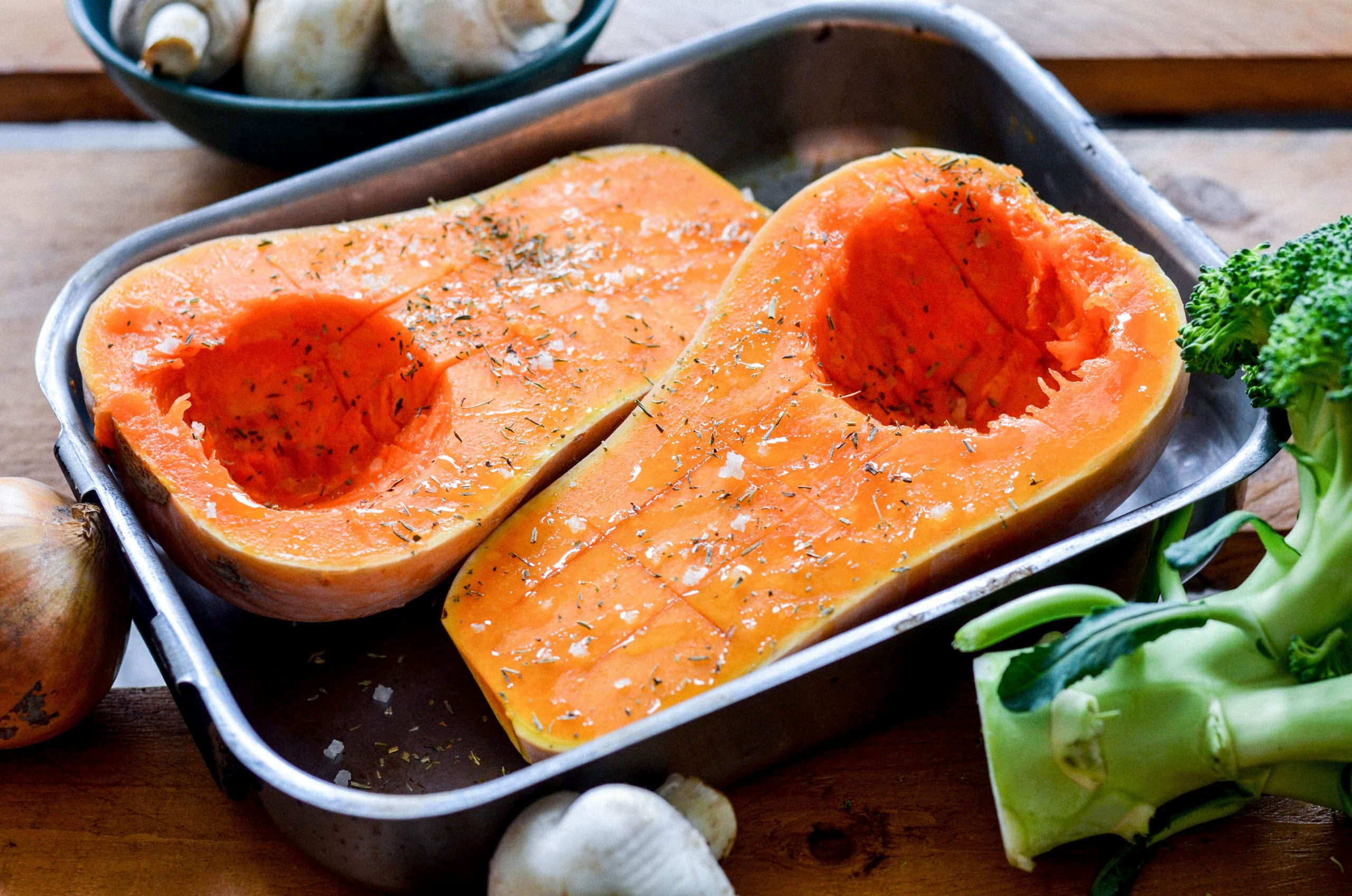 Courge butternut farcie aux champignons et brocoli